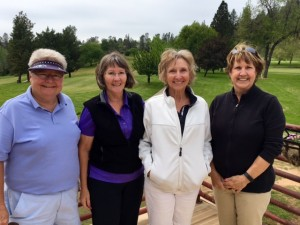 Sandy Pack & Jane Parson, winners of the 1st flight for 18-hole group; Sandy Hansen & Cathy Fouyer, 2nd place in the 1st flight.