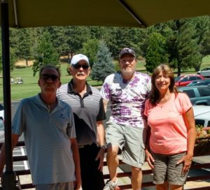 Couples Flight Winners Steve (far left) and Brenda (far right) Swain.  Men's Flight Winners Mike Railey & Dave Almassy