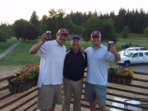 PLT Crazy Horse Champs Dave Preston (l) and Tim Walker (r) celebrating with pro, Mike Rademaker.  Not pictured - Brett Dotson